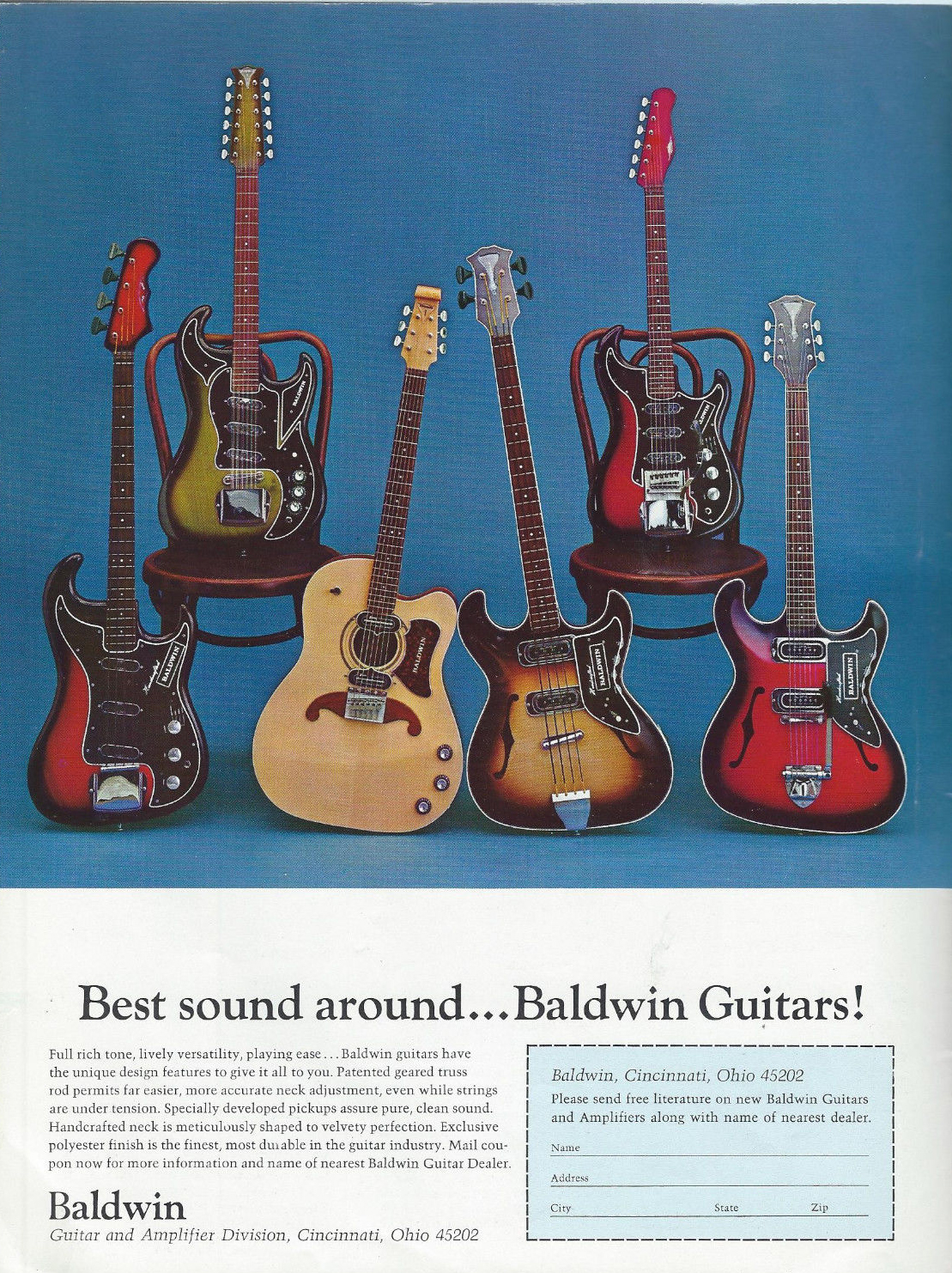 6ffaf5e557a162 Baldwin Amplifiers with Supersound · 1966 Best sound around ... Baldwin  Guitars!